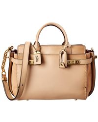 COACH - Double Swagger Leather & Suede Tote - Lyst