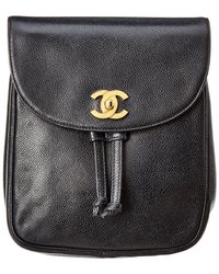 Chanel - Black Caviar Leather Backpack - Lyst