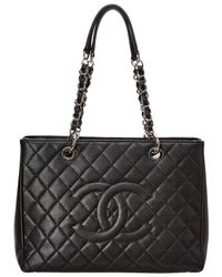 9c572290c Chanel - Black Quilted Caviar Leather Grand Shopping Tote - Lyst