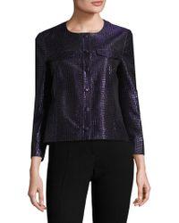 Anne Klein - Jacquard Button Front Jacket - Lyst