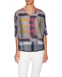 The Odells - Cotton Ikat Back Pleat Blouse - Lyst