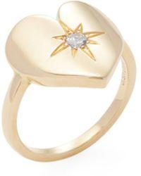 Janis Savitt | 18k Yellow Gold & 0.10 Total Ct. Diamond Heart Ring | Lyst