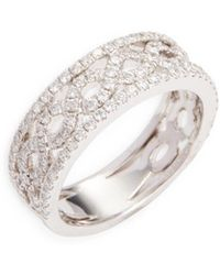 Nephora - 14k White Gold & Diamond Braided Center With Pave Wall Ring - Lyst