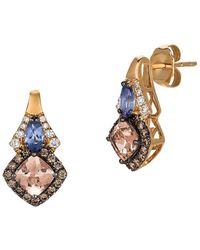 Le Vian - Chocolatier Vanilla Diamond, Chocolate Diamond, Peach Morganite, Blueberry Tanzanite And 14k Strawberry Gold Earrings - Lyst