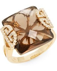 Effy | Final Call Diamond, Smoky Quartz & 14k Yellow Gold Ring | Lyst