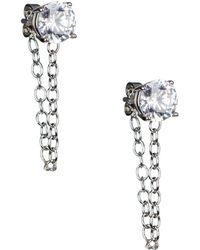CZ by Kenneth Jay Lane - Chained Stud Earrings - Lyst