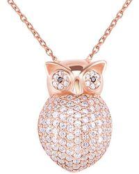 Gabi Rielle - Rose Gold Over Silver Cz Owl Pendant Necklace - Lyst