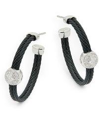 Alor - Diamond, 18k White Gold & Stainless Steel Hoop Earrings - Lyst