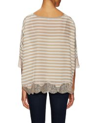 Falcon & Bloom - Silk Lace Striped Top - Lyst