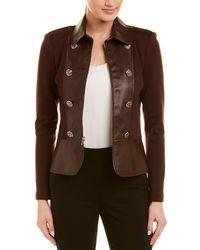 St. John - Leather-trim Wool & Silk-blend Jacket - Lyst