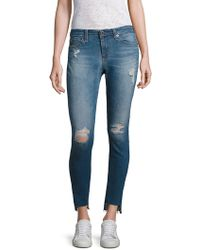 AG Jeans - Middi Distressed Step Hem Ankle Skinny Jeans - Lyst