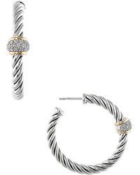 David Yurman - David Yurman Metro 18k & Silver 0.25 Ct. Tw. Diamond Drop Earrings - Lyst