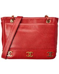 852ff682ef8ad7 Chanel Burgundy Caviar Leather Vanity Cosmetic Bag in Purple - Lyst