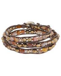 Chan Luu - Silver Gemstone, Crystal, & Leather Wrap Bracelet - Lyst