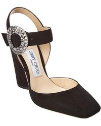 0322005c0a5 Jimmy Choo - Matilda 100 Embellished Suede Slingback Court Shoes - Lyst