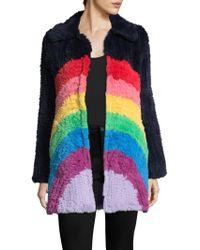 Manoush - Rainbow Rabbit Fur Coat - Lyst