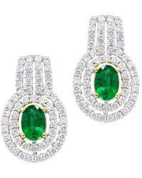 Diana M. Jewels . Fine Jewellery 18k 2.14 Ct. Tw. Diamond & Emerald Earrings