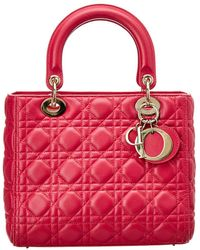 Dior Pink Lambskin Leather Small Lady Dior