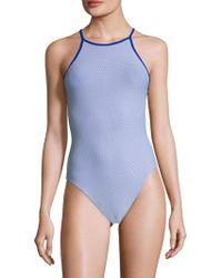 Mouillé Swim - Lace-up Back Laser-cut One Piece Swimsuit - Lyst