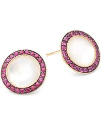 Ippolita - Lollipop Mother-of-pearl, Ruby And 18k Yellow Gold Stud Earrings - Lyst