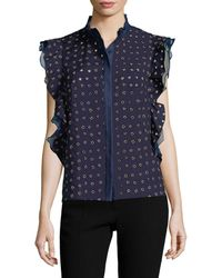 6bf18f9c82c Lyst - French Connection Flight Of Fancy Floral Shirt in Blue