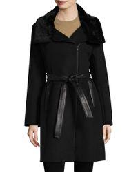 SOIA & KYO - Elma Belted Faux Fur Wool Coat - Lyst