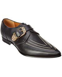 e4cd3cb9fcff Lyst - Gucci Diamante Leather Monk Strap Shoe in Black for Men