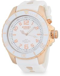 Kyboe - Mens Rose Goldtone Stainless Steel Silicone Strap Watch - Lyst
