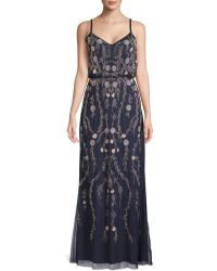 Adrianna Papell - Floral Beaded Blouson Gown - Lyst