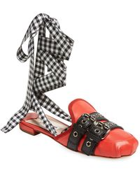 Miu Miu | Checkered Leather Mule | Lyst