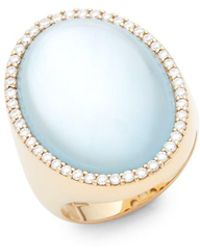 Roberto Coin - Diamonds, Topaz And 18k Rose Gold Doublet Round Ring - Lyst