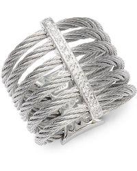 Alor - Cable 18k White Gold & Diamond Midi Ring - Lyst