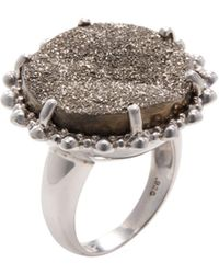 Anzie - Large Dew Drop Sterling Silver & Gunmetal Druzy Cocktail Ring - Lyst