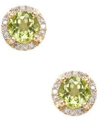 Rina Limor - Peridot Halo Earrings - Lyst