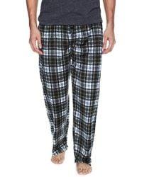 Ben Sherman Plaid Micro Fleece Pyjama Pants - Blue