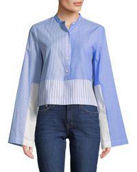 Derek Lam - Collarless Cropped Shirt - Lyst