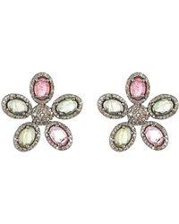 Adornia - Fine Jewellery Rhodium Plated Silver 5.50 Ct. Tw. Diamond & Tourmaline Flower Studs - Lyst