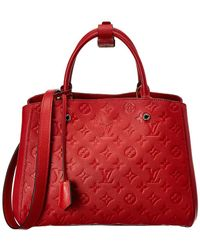 Louis Vuitton - Red Monogram Empreinte Leather Montaigne Mm - Lyst