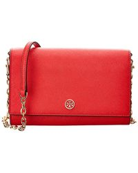 e1699c6956b3 Tory Burch Brody Pebbled Leather Wallet Crossbody in Red - Lyst