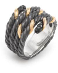 David Yurman - Blackened Silver, 18k Yellow Gold & 0.12 Total Ct. Black Diamond Cable Crossover Ring - Lyst