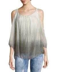 Le Marais - Ombre Cold-shoulder Raw Silk Top - Lyst