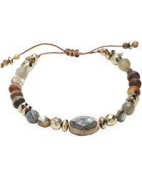 Chan Luu - Abalone, Titanium Pyrite, Matte Brown Tibetan Agate, Labradorite & Sterling Silver Bracelet - Lyst