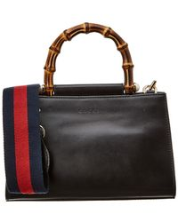Gucci - Black Leather Bamboo Nymphaea Bag - Lyst