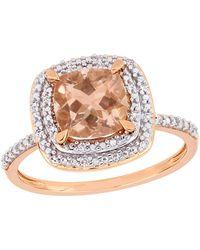 Rina Limor - 14k Rose Gold, Morganite & Diamond Ring - Lyst