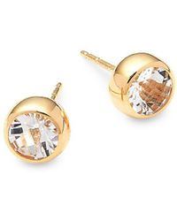 Anzie - White Topaz And 14k Gold Stud Earrings - Lyst