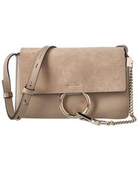 Chloé Faye Small Leather & Suede Shoulder Bag - Natural