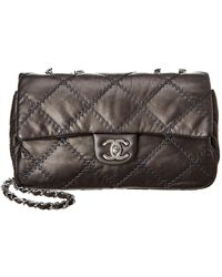 69efba6251a0 Chanel - Grey Quilted Lambskin Leather Ultimate Stitch Medium Flap Bag -  Lyst