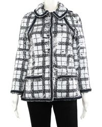 Chanel - Black & White Check Jacket, Size Fr 34 - Lyst