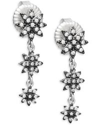 Freida Rothman - Graduated Starburst Crystal And Sterling Silver Drop Earrings - Lyst