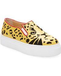 Charlotte Olympia - Feline Slip-on Platform Leather Sneaker - Lyst